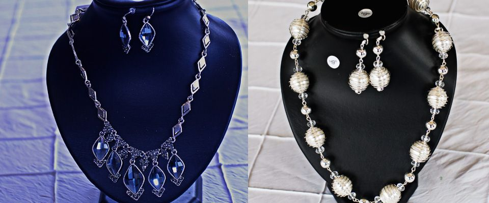 Gifts & More - blue and white necklace and earring sets
